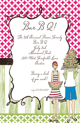 Have a summer party just like the Webers! This invitation is decorated with a couple in summer gear holding chow for everyone. The invitation itself is decorated in patterns using watermelon colors. Its a great choice for a summer picnic! This fun 5.5x 8.5 invitation is available blank or personalized. Glitter embellishment available. Coordinating envelope included.