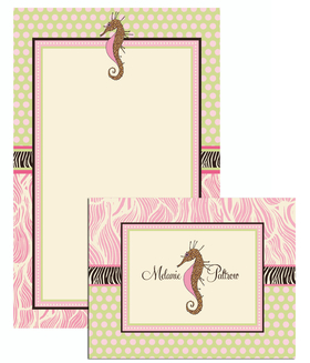 This is an elegant Seahorse Stationary set . Each set comes 8 folded note cards (5 X 4.25) and 10 sheets of stationery (5.5 X 8.5) and 19 envelopes. The Stationery and the Note can be personalized.<br>