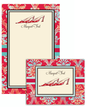 This is an elegant Red Polka Dot<br>Stationary set . Each set comes 8 folded note cards (5 X 4.25) and 10 sheets of stationery (5.5 X 8.5) and 19 envelopes. The Stationery and the Note can be personalized.<br>