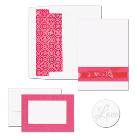 GREAT DEAL! This product is great for Weddings and other special events.   Fuchsia Band design with bow includes  50 invitations, 50 lined envelopes, 50 note cards and 50 note card envelopes plus 50 bonus seals size of note card is 5.5&quot; x 7.75&quot; note card  4.875&quot; x 3.375&quot; 65lb. card stock. <b>If you are ordering personalized, we will only print &quot;Thank You on the Note cards in your personalized font. we do not send a proof of the note card. If you do Not need these personalized please make a note in the comments section. </b>