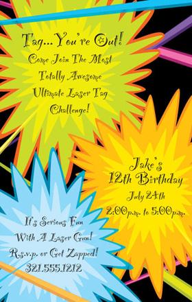 Invitations Birthday Children Juvenile Boys Laser Tag