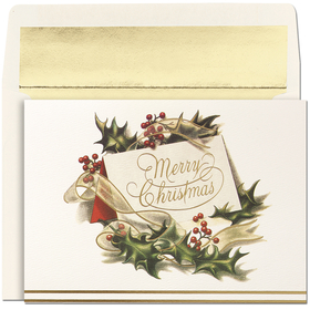 Discontinued<br><br>Holly, gold ribbon, and a card bearing the words &quot;Merry Christmas&quot; perfectly capture the elegance of the holiday season.  With a coordinating gold foiled lined ivory envelope, this card comes with the verse:&quot; Christmas Greetings and Best Wishes for Your Happiness in the New Year.&quot;  This makes a great greeting card for family and friends or for a Corporate greeting card for the office.  If you would like us to add a logo or wording please call or email at customercare@impressinprint.com
