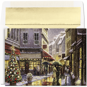 "What a great way to bring the feeling of Christmas to your friends and family!  Bustling shoppers line the snow covered streets of this elegant city scene.  The inside verse is printed in gold :""Wishing You A Wonderful Holiday And A Bright And Beautiful New Year!""  Comes with gold foil lined envelope."