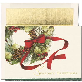 DISCONTINUED<br><br>A bright red bow completes the beautiful wreath that is shown on this ivory colored card with a deckled edge. The verse inside is printed in red:&quot; Wishing You a Happy Holiday Season and a Wonderful New Year&quot;.  Comes with gold lined envelopes.<br>
