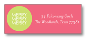 Coordinating Address label designed with a vibrant pink and a bright festive green with the words Merry, Merry, Merry inside the circle. Labels come in sheets of 30.  Please indicate exactly how you would like name and address printed.