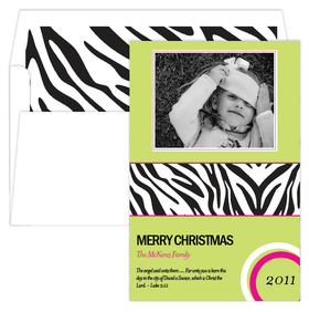 Green Photo card with a Zebra printed band.  Accented with hot pink and multi colored circular design.  You have the option of a Matte or Glossy finish please specify in comments - if not indicated the order will be printed on gloss finish. Includes coordinating lined envelope.  <br>*Also available is a coordinating return adddress label and personalized laser sheets- sold seperately.
