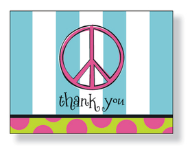 Peace sign with blue striped design. notecard can be ordered with <b>THANK YOU</b> on front exactly like sample<B>(ORDER BLANK)</B> or personalized with any text you specify on front <B>(ORDER PERSONALIZED)</B>.  Notecard is blank inside for your personal note and includes white envelope.  MAKES A WONDERFUL GIFT!