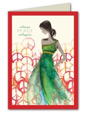 <B>Cards for a Cause</B> Inspired by Model Molly Sims, This beautifully watercolored designed card shows a woman in a flowing dress surrounded by colorful peace signs on the font.  10% of the proceeds from the sale of this card will benefit,  Friends of El Faro. Mission: to feed Hungry children, shelter them, keep them safe and send them to school.  Printed on premium quality white cardstock and white envelopes are included.  Printed on Recycled paper and made in the USA. This is a great way to send your holiday greeting and show your support for a great charity.