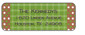 Holiday green and brown polka dots with striped center address labe. Card is printed on an 80lb. matte card stock.  Comes with a White envelope.  Available with a coordinating label-sold seperately.