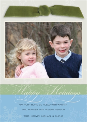 Send well wishes to family and friends this year with this elegant flat digital card. Featuring a moss velvet ribbon bow at the top and a large photo of your family, this card is accentuated in colors of light blue, green and light taupe with tone-on-tone snowflakes scattered across the background. The large greeting in the green band can be personalized and theres plenty of room for a secondary greeting in the blue background at the bottom.<br><br></p> <A HREF=http://www.impressinprint.com/Popups/popup_dynamic.aspx?POPID=37 rel=shadowbox;width=500>CLICK HERE FOR PHOTO SPECIFICATIONS</A>