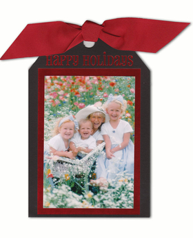 Your own personalized tag. Two black layers are tied together with 1 1/2&quot; grosgrain burgurndy ribbon. The bottom layer is printed with your verse and personalization and the top layer is accented with red foil to make a lovely border for your photo (photo size 4x6 inches). Includes white envelopes lined with red foil and glue dots for photo attachment. This card can use Vertical photos only. If you have questions regarding this product please call customer service. Assembly is required.<br>Due to the ribbon attachment -special postal processing is required.