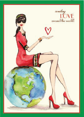 TEMP OUT OF STOCK<br><br><br><B>Cards for a Cause</B> Inspired by Model Cindy Crawford, this beautiful watercolored design card shows a stylish woman in red holding a heart in her hand with a green border around the edging.  10% of the proceeds from the sale of this card will benefit the  Leukemia & Lymphoma Society.  Comes with ecru envelope.  Printed on Recycled paper and made in the USA. This is a great way to send your holiday greeting and show your support for a great charity.