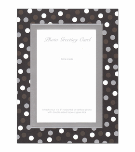 Beautiful Silver foil Embossed framed Photo card with white, chocolate and silver polka dots around the photo area.  This card comes blank inside and you can personalize with your holiday greeting.  Comes with white envelope<br>If you would like us to personalize this greeting card, please indicate you would like it Vertical or horizontal.
