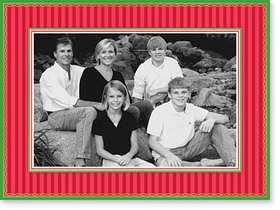 <b>ON SALE! 180 AVAILABLE!</b><br><br>Red striped with green borders and accented with gold foil makes a great holiday greeting.  This card frames a 4&quot; x 6&quot; photo and has a pre-printed verse inside &quot;Seasons Greetings - Happy holidays.&quot;.  Comes with white envelope.