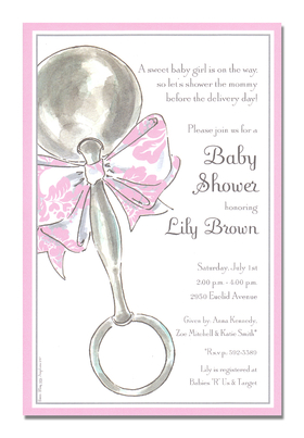 This adorable card is decorated with a silver baby rattle that is tied with a precious pink and white bow.  The striped border is pale pink and shimmering silver.  Its a perfect choice for a baby shower or birth/adoption announcement! <p>A trendy and colorful design printed only on premium fine quality 80 lb. card stock. Available either blank or personalized. Includes white envelope. Dont forget coordinating THANK YOU card shown!</p>