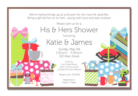 Couples showers are all the rave!  Celebrate the engaged couple with a shower that all can enjoy, and an invitation decorated for them both!  Each side is filled with gadgets She and He will love!<p>A trendy and colorful design printed only on premium fine quality 80 lb. card stock. Available either blank or personalized. Includes white envelope. Dont forget coordinating THANK YOU card shown!</p>
