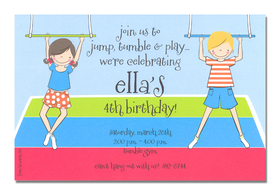 Having a party at a gymnasium? This invitation is perfect! It is decorated with a young girl and boy swinging on a bar over a multi-colored mat.  Its suitable for a girl or a boys birthday invitation.<p>A trendy and colorful design printed only on premium fine quality 80 lb. card stock. Available either blank or personalized. Includes white envelope.</p>