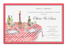 Traditional Italian!  This table is set with the traditional red and white tablecloth. Wine, olive oil, and everything you need to enjoy you meal.  Invite your guests to a rehearsal dinner or get together with an Italian theme.<p>An elegant bridal themed invitation printed only on premium fine quality 80 lb. card stock. Available either blank or personalized. Includes white envelope.</p>