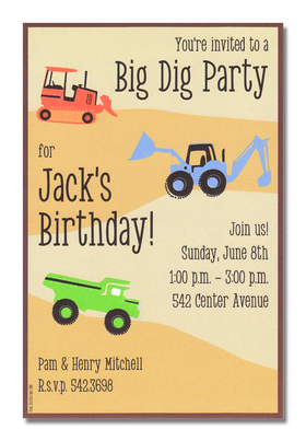 Bring your trucks and get ready to play!  This great kids invitation is decorated with dump trucks and tractors ready to play in the sandy background.  Perfect for a little boys birthday!<p>A trendy and colorful design printed only on premium fine quality 80 lb. card stock. Available either blank or personalized. Includes white envelope.</p>