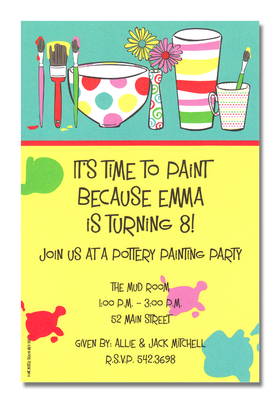 Pottery Painting Party! This cute and artsy invitation is decorated with freshly painted clay pottery and paint brushes still dripping with paint.  The background is split up between yellow and teal with a red border.  So cute for a birthday party at a pottery studio!<p>A trendy and colorful design printed only on premium fine quality 80 lb. card stock. Available either blank or personalized. Includes white envelope.</p>