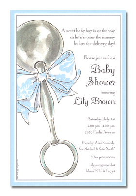 Classic Rattle Blue - This adorable card is decorated with a silver baby rattle that is tied with a precious pink and white bow.  The striped border is pale pink and shimmering silver.  Its a perfect choice for a baby shower or birth/adoption announcement! A trendy and colorful design printed only on premium fine quality 80 lb. card stock. Available either blank or personalized. Includes white envelope.