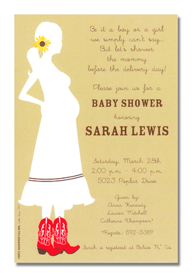 Celebrate out west with an invitation thats fit for the theme! This expecting mom is wearing a traditional skirt with cowgirl boots and a sunflower in her hair.  White cardstock with a sandy background.<p>A fun western themed invitation printed only on premium fine quality 80 lb. card stock. Available either blank or personalized. Includes white envelope.   </p>