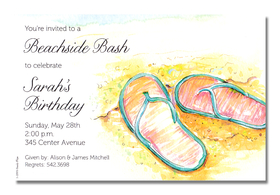 Have fun at the beach with flipflops in the sand! This card is decorated with blue flipflops against a yellow sandy beach.  Its great for destination events!</p>A trendy and colorful design printed only on premium fine quality 80 lb. card stock. Easy to print on your inkjet/laser printer (blank)...or we can print for you (personalized). Includes white envelope.</p>