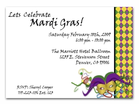 Celebrate Mardi Gras with this bright and festive new invitation.  With traditional Mardi Gras colors of Purple, Green and gold along with the mask and beads creates the perfect invitation for any Mardi Gras Party!   Includes white envelope.
