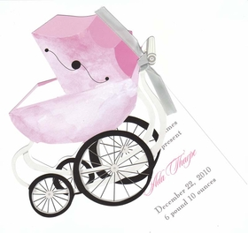 "Temp. out of Stock as of 4-29-14<br><br><br>A beautiful die-cut pink baby carriage that is attached to a 3.5"" x 5.5"" white card for personalization.   Tied together with a black and white polka dotted ribbon that is provided.  This card does require assembly.  White envelopes included. <P> IF YOU NEED US TO ASSEMBLE THE TAG TO THE DIE-CUT CARD, THERE IS AN ADDITIONAL CHARGE OF $0.50 PER CARD.Please make note in comments.</P><p>"