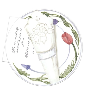 A beautiful Die cut floral plate that cleverly holds a 3.5x5.5 invitation card in the center.  This is a Unique and fun Invitation.  This card does require assembly.  White envelopes included. <P> IF YOU NEED US TO ASSEMBLE THE TAG TO THE DIE-CUT CARD, THERE IS AN ADDITIONAL CHARGE OF $0.50 PER CARD.Please make note in comments.</P><p>