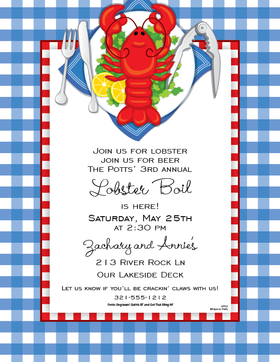 Great for a fun lobster boil or cookout.  This fun paper has a brignt red lobster with all the things you need to get &quot;crackin&quot; This is a  8.5&quot; x 11&quot; paper  is easy to print on your home printer. You wont find premium quality paper like this at your local store. <p>Envelopes are sold separately.  Select your choice of color.</p>