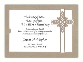 A pristine cross is the focus of this Divine invitation/announcement. Cut in heavy weight metallic gold cover stock, it has a white insert that displays your wording. A matching white envelope completes the ensemble. Minimum assembly required. <br><br>Invitation can be printed on your inkjet/laser printer or we can print for you.  <br><br>Back card is also available in White Metallic.  Please make a note in the Comments section if you would like White Metallic cardstock.