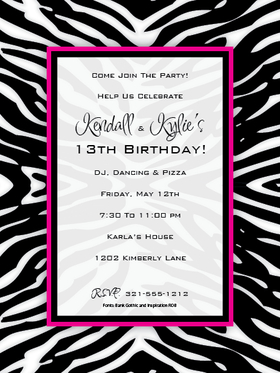 Zany Zebra - Have some fun with animal prints!  This has great black Zebra print with a fun  Hot Pink border.  Perfect for that teens party or for a girls night out gathering. Available blank or personalized.  Includes white envelope.