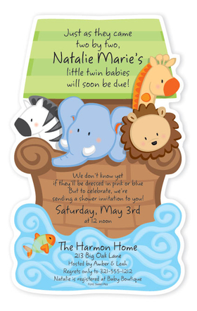 babies children baby shower invitations noah 39 s ark die cut
