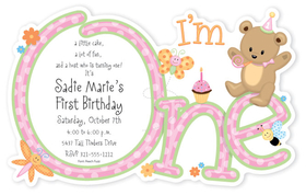 You will love our First Birthday girl themed die cut design. Invitation shows the Words Im One with an image of a cute little bear and cupcakes along with toys along the design. Card is flat with perforated edge that is detached after printing. Includes white envelopes. This card is a die cut and comes as a flat card and will need to be detached from card after printing.  Some assembly required.