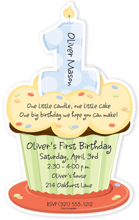 You will love our First Birthday boy cupcake die cut design. Invitation shows a big blue 1 on top of a sprinkled cupcake.  Card is flat with perforated edge that is detached after printing. Includes white envelopes. This card is a die cut and comes as a flat card and will need to be detached from card after printing.  Some assembly required.