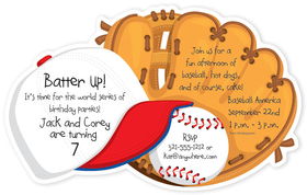 great invitation for that little sports fan with a baseball themed design invitation shows cap