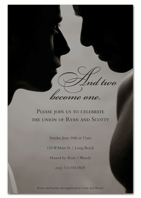 Simply beautiful male marriage invitation.  This is a black and white image of two men silouettes embracing, perfect for the big day or for announcing your union.  Printed on an 80# card stock. Includes white envelope.