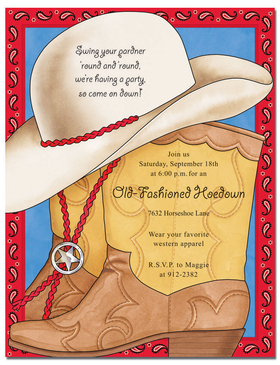 Out of stock-Discontinued <br><br><br><br>What a Great paper for a western party! This designer laser paper has a cowboy hat and a tan cowboy boot  with edging that has red paisley to give the border a handkerchief look.  If you are looking for western, this is it! <B>ENVELOPES ARE SOLD SEPARATELY.</B></p>