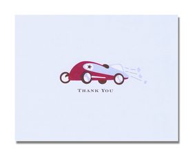 "This fun Retro Race car themed little boys thank you notes!  This note card shows a retro style race car and you can purchase blank to personalize it with your own wording, or we can personalize it for you. Red, blue and Chocolate throughout the design. Includes white envelope. We can print your name on the front or the words "" Thank You"".  Please limit the amount of personalizataion to one line of text.  The inside of the card is blank for your note writing.  back of notecard is pink with small white polka dots. Includes white envelope."