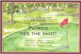 Perfect for the company golf outing or just a get together with friends to play a round.  This watercolor design shows a green complete with red flag and bordered with a brown and red band around the edging of the invitation.  Available either blank or personalized. Includes white envelope.</p>