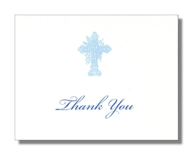 "Elegant white card stock with a baby blue scroll cross centered on the front of the card.   Note card comes blank or we can personalize it with either ""Thank You"" or a name on the front.  Inside the card is blank for your personalized note.  Includes white envelope."