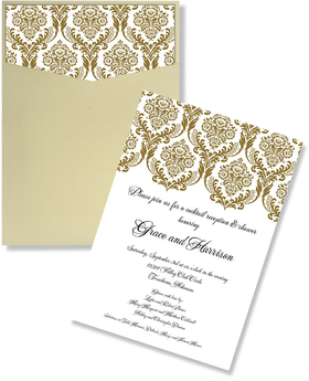 Gold Damask Pocket Formal Invitation - An elegant gold and white invitation with the top of the card showing a damask design in a gold colored print.  This card slips into a beautiful gold French cut pocket and completes this formal invitation.  This is made of a high quality heavy card stock and includes a bright white linen envelope.
