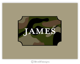"A masculine yet sophisticated camo designed thank you note.  Personalize the center of the camo area with a name or with the words ""thank You in the center.  Includes white envelopes."