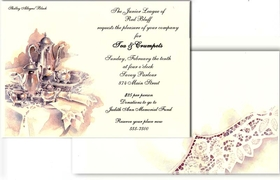 This elegant design features a sterling silver tea set with pretty lacy linens.  This invitation will set the tone for your tea party or luncheon!  Our premium quality cardstock is easy to print on your inkjet/laser printer or let us personalize them for you.  Coordinating envelopes are included.