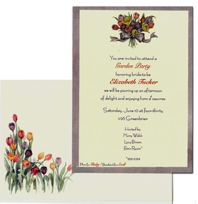 This beautiful design features a lavendar border with a Spring floral bouquet of colorful tulips that are tied with a lavendar bow.  What a beautiful way to announce your garden party or ladies luncheon!<br><br>Printed on premium quality ivory cardstock and the coordinating envelopes are included.