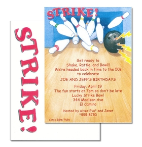 Invitations sports golf bowling invitation cardstock strike bowling a fun and colorful bowling themed invitation this design shows a bowling ball and pins stopboris Images