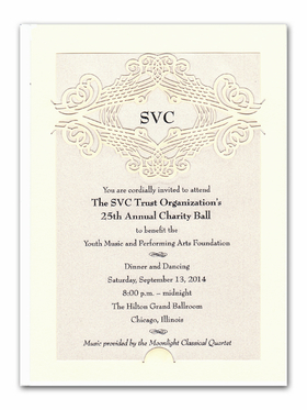 Elegant laser cut monogramed invitation. Perfect for a formal wedding or engagement party.  This ivory card comes with a beautiful laser-cut design on the top center of the back card and a shimmery ivory card insert.  Requires minimal assembly  Includes an ivory envelope.