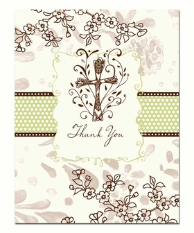 A beautiful eclectic cross is centered on the front of this folded note card.  Has a dark brown cross with lavender and brown floral design and a brown and green band that run accross the front. <B>This card only comes with pre-printed Thank you on the front.</B> Includes coordinating cream colored envelope.
