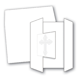 <b>ON SALE!!</B><br><br>This elegant embossed tri-fold card is a beautiful way to invite loved ones to a baptism, communion or christening.<br>It is 4 1/4&quot; x 5 1/2&quot; and is printed on 80# card stock. White envelopes are included.